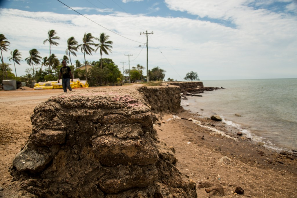 The community has built seawalls in Saibai to keep the sea at bay during the rainy season. (Credit: Saila Huusko)